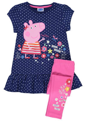 George Peppa Pig Navy Polka-Dot Dress and Leggings Outfit