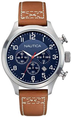 Nautica Men N14699G Bfd 101 Chrono Classic Tan/Navy Leather Strap Watch
