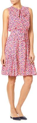 Carolina Herrera Tie-Neck Sleeveless Confetti-Print Silk Dress