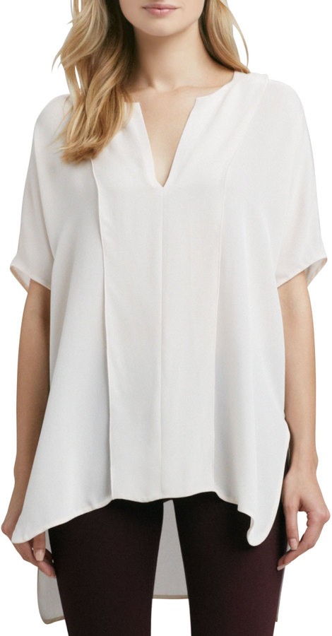 Vince Double-Panel V-Neck Blouse, Powder