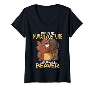 Womens This Is My Human Costume I'm Really A Beaver V-Neck T-Shirt