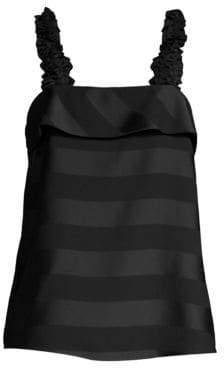 Rebecca Vallance Women's Dolores Striped Satin Camisole - Black - Size 2