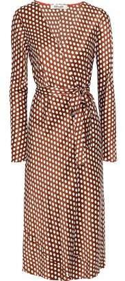 Diane von Furstenberg Tilly Polka-dot Satin Midi Wrap Dress