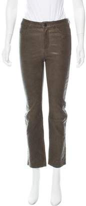 Paige Mid-Rise Leather Pants