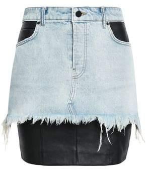Alexander Wang Stretch Leather-paneled Denim Mini Skirt