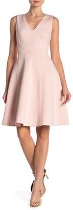 Calvin Klein Scuba V-Neck Fit & Flare Dress