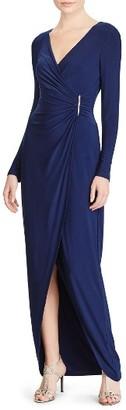 Women's Lauren Ralph Lauren Safronette Faux Wrap Gown $195 thestylecure.com