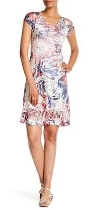 Komarov Lace Trim Cap Sleeve Dress