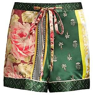 Oscar de la Renta Sleepwear Women's Spruce Floral Patchwork Silk Shorts