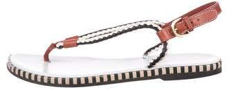 Sergio Rossi Woven Leather Thong Sandals