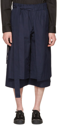 Craig Green Navy Layered Track Shorts $535 thestylecure.com