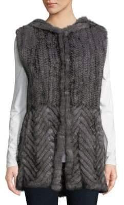Knitted Mink Fur Hooded Vest