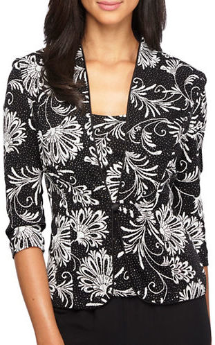 Alex Evenings Alex Evenings Plus Two-Piece Printed Twinset