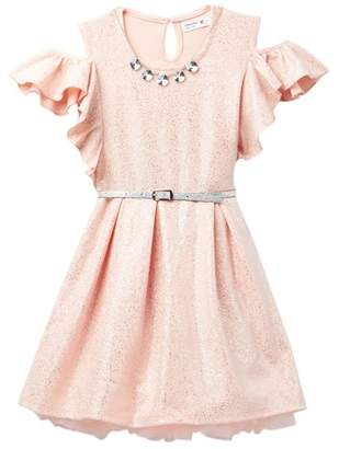 Beautees Cold Shoulder Belted Sparkle Dress with Necklace (Big Girls)