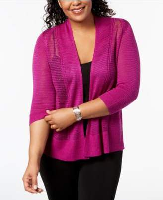 Alfani Plus Size Mixed-Stitch Open-Front Cardigan, Created for Macy's