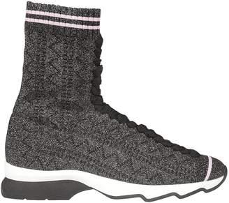 Fendi Ribbed Hi-top Sneakers