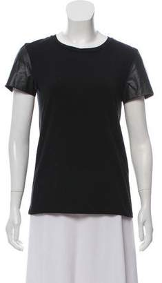 Theory Faux Leather Trim Top