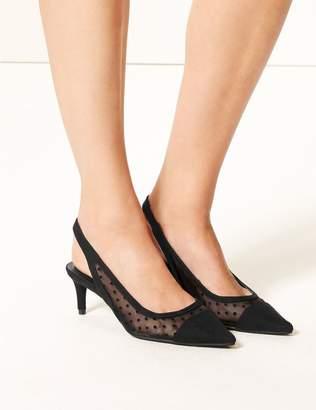 Marks and Spencer Spot Mesh Kitten Heel Slingback Court Shoes