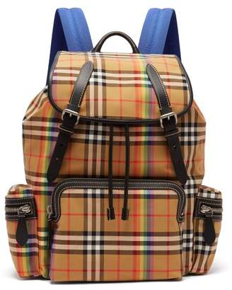 Burberry - Rainbow Vintage Check Cotton Backpack - Mens - Beige Multi