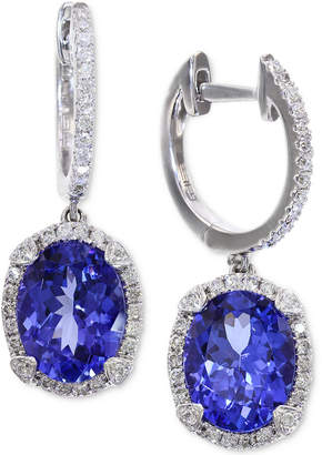 Effy Tanzanite (3-3/8 ct. t.w.) and Diamond (1/3 ct. t.w.) Hoop Earrings in 14k White Gold, Created for Macy's