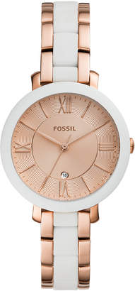 Fossil Women Jacqueline White Silicone & Rose Gold-Tone Stainless Steel Bracelet Watch 36mm