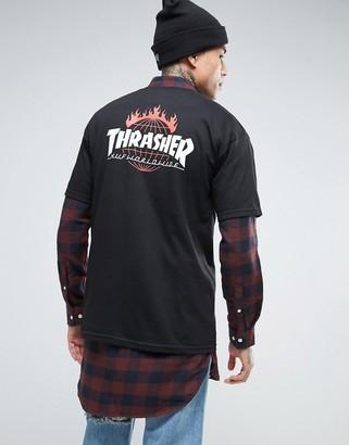 HUF x Thrasher Logo T-Shirt With Back Print $56 thestylecure.com