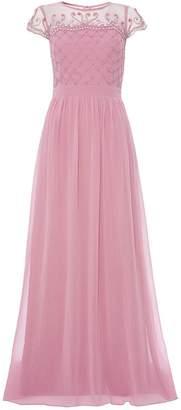Quiz Mauve Chiffon Embellished Bodice Maxi Dress