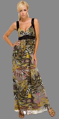 A-line Jungle Print Maxi Dresses