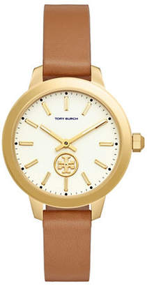 Tory Burch Collins Goldtone Stainless Steel Leather Strap Watch