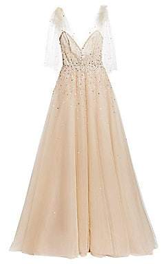 Monique Lhuillier Women's Embellished A-Line Gown with Bow Detail