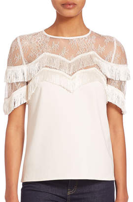 The Kooples Lace And Fringe Silk Top