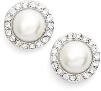 Women's Givenchy Pave Imitation Pearl Button Earrings $32 thestylecure.com