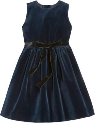 Oscar de la Renta Cotton Velvet Dress With Pleated Skirt