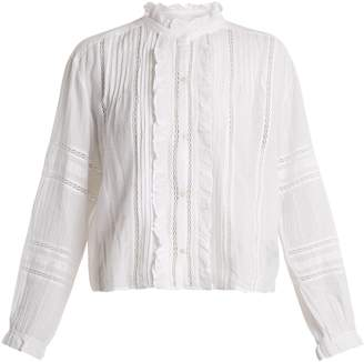 Etoile Isabel Marant Valda lace-trimmed cotton-blend blouse