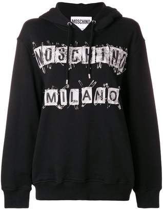Moschino safety pin logo hoodie