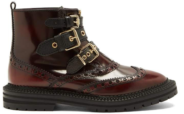 BURBERRY Everdon brogue-detail leather ankle boots