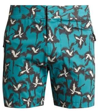 Everest Isles - Drauper Explosion Palm Print Swim Shorts - Mens - Green Multi