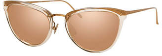 Linda Farrow Two-Tone Cat-Eye Mirrored Sunglasses