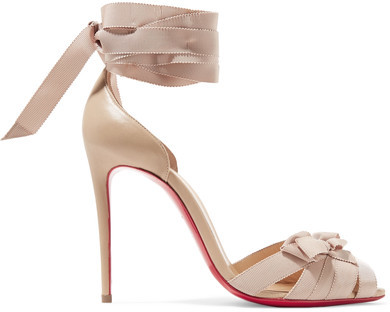 Christian Louboutin - Christeriva 100 Bow-embellished Grosgrain And Suede Sandals - Beige
