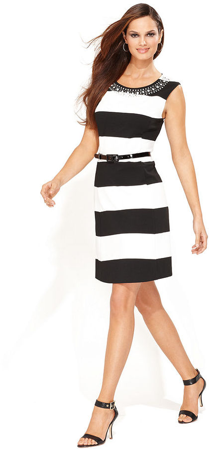 INC International Concepts Dress, Sleeveless Belted Striped
