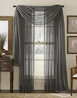 """HLC.ME Charcoal Grey Sheer Voile Window Curtain Scarf - Valance - Fully Stitched & Hemmed - 56"""" x 216"""" Inch Long"""