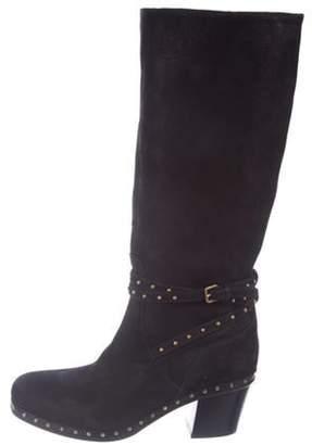 Miu Miu Suede Knee-High Boots Black Suede Knee-High Boots