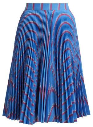 Calvin Klein Wavy Stripe Print Pleated Midi Skirt - Womens - Blue Multi