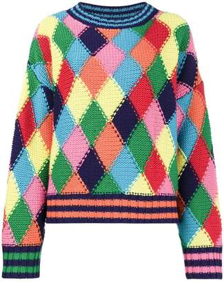 Mira Mikati Crew Neck Jumper with Diamond Pattern