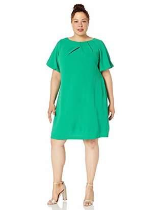 Adrianna Papell Women's Plus Size Puff Sleeve Shift Dress