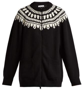Tomas Maier Fair Isle Zip Through Wool Cardigan - Womens - Black Multi