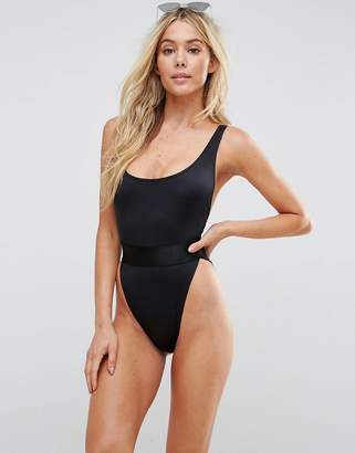 Asos DESIGN recycled high leg elastic waist swimsuit