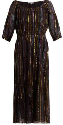 Apiece Apart Camellia Metallic Stripe Dress - Womens - Black Stripe