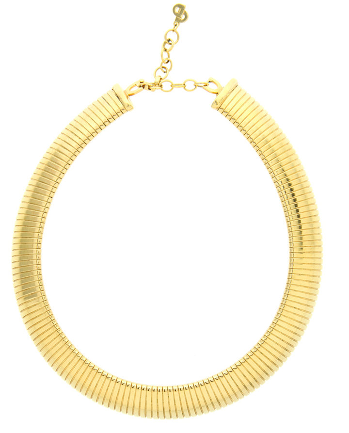 Vintage Christian Dior 1980's Gold Plate Flex Collar Necklace
