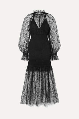 Alice McCall After Dark Shirred Corded Lace Midi Dress - Black